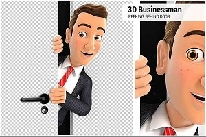 3D Businessman Behind Door