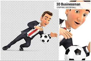 3D Businessman Stopping Soccer Ball