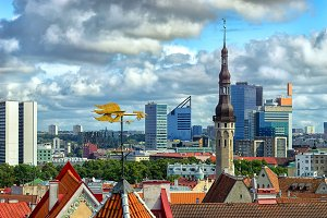 View of the Estonian capital city of Tallinn with the symbol