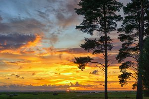 Sunset in a camping in the Baltic