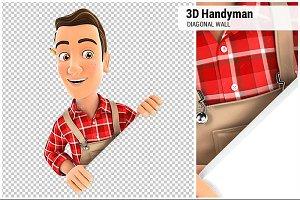 3D Handyman Behind Diagonal Wall