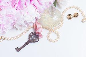 Skeleton key with peony flowers