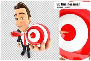3D Businessman Holding Sphere Target