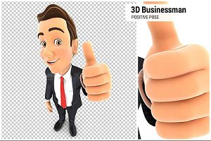 3D Businessman Positive Pose