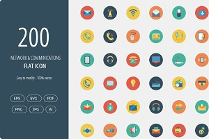 200 Networking Flat Circle icons