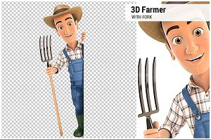 3D Farmer with Fork Behind Wall