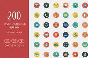 Networking Flat Circle icons