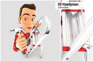 3D Handyman on Stepladder