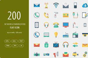 200 Comminications  Flat icons