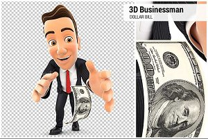 3D Businessman Pick up Dollar Bill