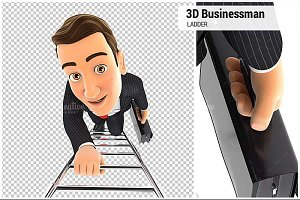 3D Businessman Climbing up Ladder