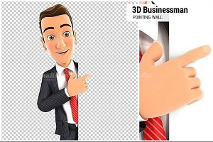 3D Businessman Pointing to Wall