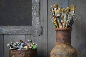Brushes and paints of the artist.