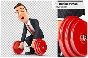 3D Businessman Lift Heavy Weight