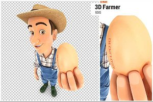 3D Farmer Holding an Egg