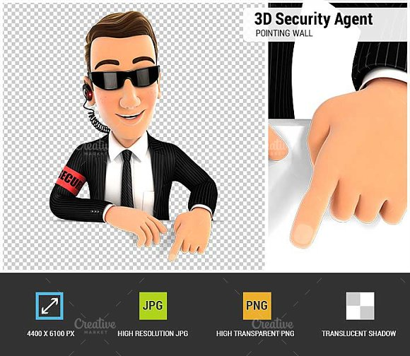 3D Security Agent Pointing to Wall