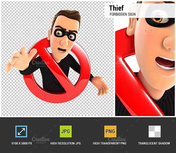 3D Thief Forbidden Sign