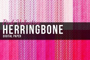 20 Pink Herringbone Papers