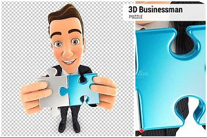 3D Businessman Two Pieces of Puzzle