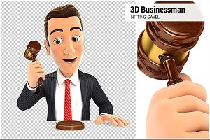 3D Businessman Hitting Gavel