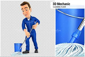 3D Mechanic Cleaning the Floor