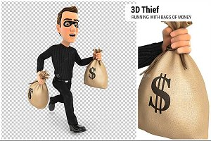 3D Thief Running Bags of Money