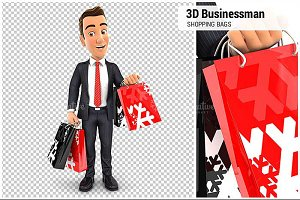 3D Businessman Shopping Bags