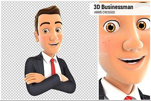 3D Businessman with Arms Crossed