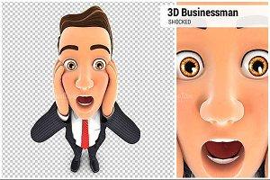 3D Businessman Shocked  Expression