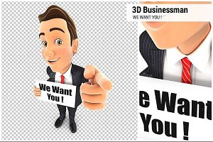 3D Businessman We Want You