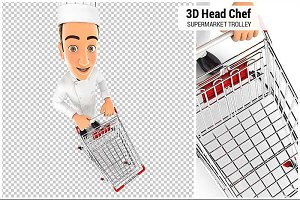 3D Head Chef Supermarket Trolley