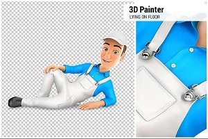 3D Painter Lying on the Floor