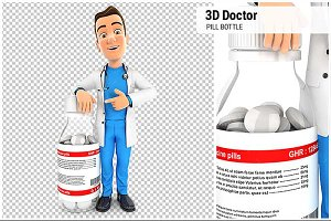 3D Doctor Next to Pill Bottle