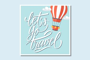 Let's go travel vector card.