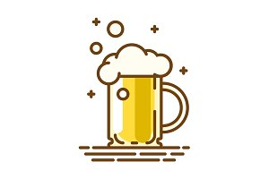 Beer glass. Trendy flat linear icon. Vector line symbol