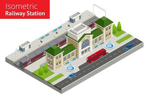 isometric Train Station building with passenger trains, platform.