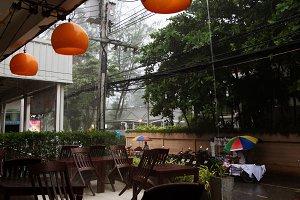 Tropical monsoon rain in Asia