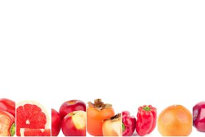 Lines from different red vegetables and fruits, isolated