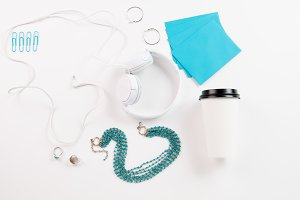 Teal and White Flat Lay