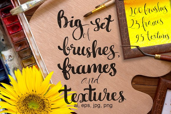 Set Of Textures Brushes Frames