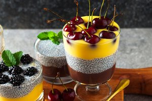 Vegetarian dessert with chia seeds
