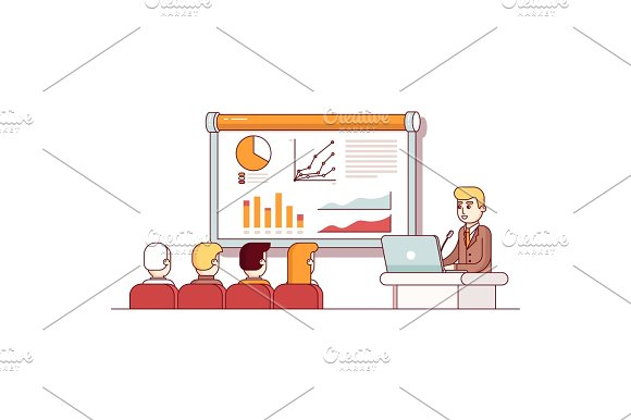 Businessman Giving A Speech Showing Sales