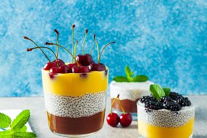 Layered desserts from chocolate