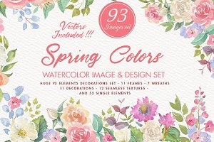 Spring Colors Watercolor image set