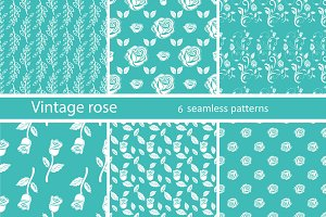 Set seamless pattern vintage rose