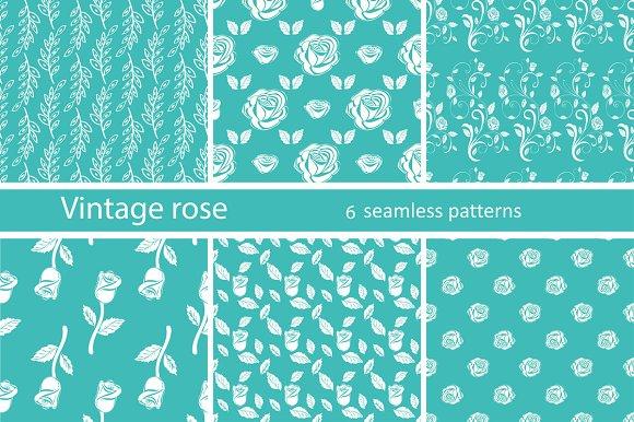 Set Seamless Pattern Vintage Rose