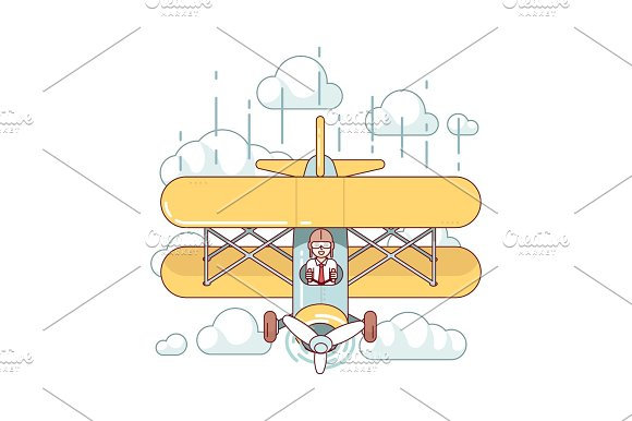 Businessman Pilot Flying Double-decker Air Plane
