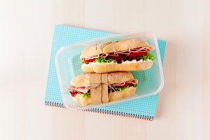 lunchbox. school notebooks