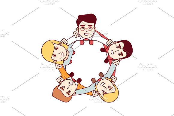 Happy Teamwork Concept Aerial Top View