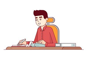 Office business clerk making expense calculations